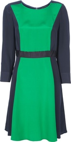 &#x27;Avery&#x27; Colourblock Dress - neckline: round neck; fit: fitted at waist; waist detail: fitted waist, embellishment at waist/feature waistband, belted waist/tie at waist/drawstring, narrow waistband; predominant colour: emerald green; occasions: casual, evening, work; length: just above the knee; style: fit &amp; flare; fibres: silk - 100%; hip detail: soft pleats at hip/draping at hip/flared at hip; bust detail: contrast pattern/fabric/detail at bust; sleeve length: 3/4 length; sleeve style: standard; texture group: silky - light; trends: glamorous day shifts; pattern type: fabric; pattern size: big &amp; light; pattern: colourblock
