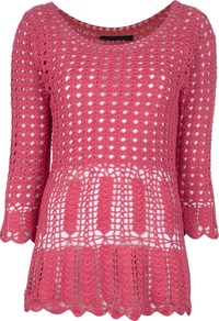 Crocheted Sweater - neckline: round neck; pattern: plain; length: below the bottom; style: standard; predominant colour: hot pink; occasions: casual; fibres: cotton - 100%; fit: standard fit; sleeve length: 3/4 length; sleeve style: standard; texture group: knits/crochet; pattern type: knitted - big stitch; pattern size: standard