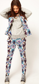 Africa Trousers In Printed Floral - length: standard; waist: mid/regular rise; predominant colour: royal blue; occasions: casual; fibres: cotton - stretch; texture group: cotton feel fabrics; trends: high impact florals; fit: slim leg; pattern type: fabric; pattern size: big & busy; pattern: florals; style: standard
