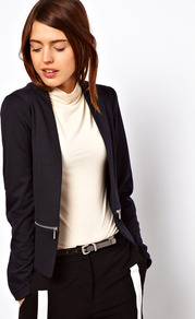 Blazer In Ponte With Zips - pattern: plain; style: single breasted blazer; hip detail: side pockets at hip, front pockets at hip; collar: standard lapel/rever collar; predominant colour: navy; occasions: casual, evening, work, occasion; length: standard; fit: tailored/fitted; fibres: polyester/polyamide - mix; waist detail: fitted waist; sleeve length: long sleeve; sleeve style: standard; collar break: low/open; pattern type: fabric; texture group: other - stretchy