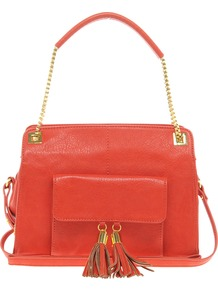 Tassel Chain Handle Bag - predominant colour: bright orange; occasions: casual, evening, work; type of pattern: light; style: shoulder; length: shoulder (tucks under arm); size: standard; material: faux leather; embellishment: tassels; pattern: plain; finish: plain