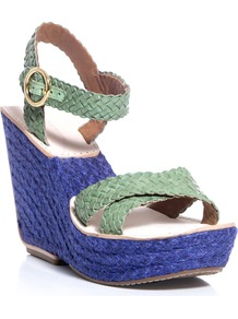 Origenes Sandals - secondary colour: royal blue; predominant colour: pistachio; occasions: casual, evening, holiday; material: leather; ankle detail: ankle strap; heel: wedge; toe: open toe/peeptoe; style: strappy; finish: plain; pattern: colourblock; heel height: very high