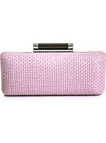 Large Tonda Raffia Clutch - predominant colour: blush; secondary colour: pistachio; occasions: evening, occasion; type of pattern: standard; style: clutch; length: hand carry; size: standard; material: fabric; pattern: plain; finish: plain