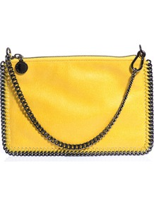 Falabella Pouch Bag - predominant colour: yellow; occasions: casual, evening, work, occasion, holiday; type of pattern: standard; style: shoulder; length: hand carry; size: small; material: faux leather; embellishment: zips; pattern: plain; trends: fluorescent; finish: plain