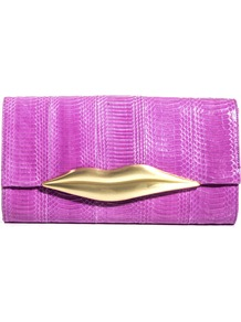 Carolina Lips Clutch - predominant colour: magenta; secondary colour: gold; occasions: evening, occasion, holiday; type of pattern: light; style: clutch; length: hand carry; size: small; material: leather; pattern: plain; finish: plain; embellishment: chain/metal