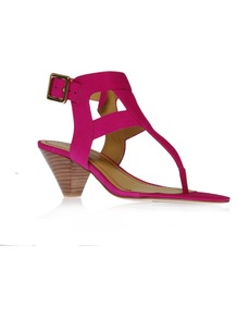 Crashcourse - predominant colour: hot pink; occasions: evening, holiday; material: fabric; heel height: mid; ankle detail: ankle strap; heel: cone; toe: toe thongs; style: strappy; finish: plain; pattern: plain