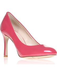 Drusilla3 - predominant colour: pink; occasions: evening, work, occasion; material: leather; heel height: high; heel: stiletto; toe: round toe; style: courts; finish: patent; pattern: plain