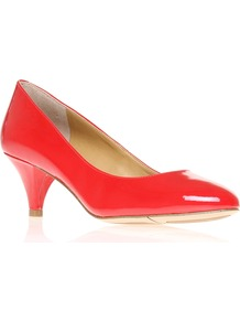 Swaymeso3 - predominant colour: true red; occasions: evening, work, occasion; material: leather; heel height: mid; heel: cone; toe: pointed toe; style: courts; trends: fluorescent; finish: patent; pattern: plain