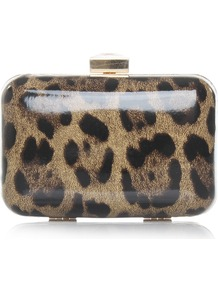 Olivia - predominant colour: stone; occasions: evening; style: clutch; length: hand carry; material: plastic/rubber; pattern: animal print; finish: patent
