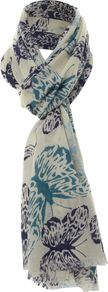 Abstract Large Butterfly Scarf, Navy - predominant colour: ivory; secondary colour: denim; occasions: casual, work; type of pattern: heavy; style: regular; size: standard; material: fabric; pattern: patterned/print