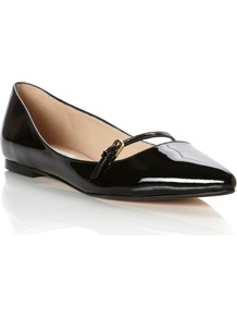Merit Mary Jane Point Ballerina Shoes, Black - secondary colour: gold; predominant colour: black; occasions: casual, evening, work, holiday; material: leather; heel height: flat; embellishment: buckles; toe: pointed toe; style: ballerinas / pumps; finish: patent; pattern: plain