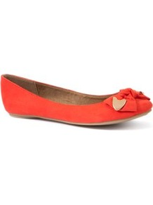 Coral Metal Trim Bow Pumps - predominant colour: bright orange; occasions: casual, holiday; material: fabric; heel height: flat; toe: round toe; style: ballerinas / pumps; trends: fluorescent; finish: plain; pattern: plain; embellishment: bow