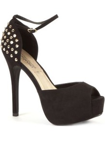 Black Stud Back Ankle Strap Platform Heels - predominant colour: black; occasions: evening, occasion; material: fabric; embellishment: studs; ankle detail: ankle strap; heel: platform; toe: open toe/peeptoe; style: standard; finish: plain; pattern: plain; heel height: very high