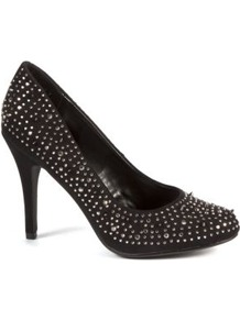 Black Stud Embellished Court Shoes - predominant colour: black; occasions: evening; material: faux leather; heel height: high; embellishment: crystals; heel: stiletto; toe: round toe; style: courts; finish: plain; pattern: plain