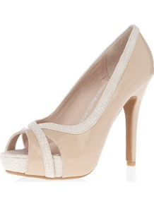 Nude Platform Peep Courts - secondary colour: ivory; predominant colour: nude; occasions: evening, work, occasion; material: faux leather; heel height: high; heel: platform; toe: open toe/peeptoe; style: courts; finish: patent; pattern: animal print