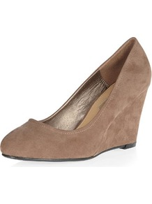 Dark Mink Mid Wedge Courts - predominant colour: camel; occasions: casual, evening, work; material: fabric; heel height: high; heel: wedge; toe: round toe; style: courts; finish: plain; pattern: plain