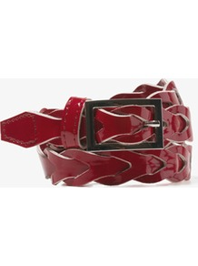 Woven Patent Waist Belt - predominant colour: burgundy; occasions: casual, evening, work; type of pattern: standard; style: plaited/woven; size: standard; worn on: waist; material: leather; pattern: plain; finish: patent