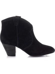 Jalouse Boots - predominant colour: black; occasions: casual, evening, work; material: suede; heel height: mid; heel: cone; toe: pointed toe; boot length: ankle boot; style: cowboy; finish: plain; pattern: plain