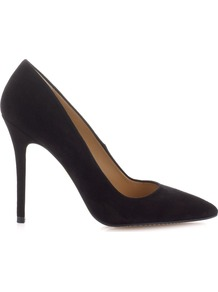 French 75 Suede Stilettos - predominant colour: black; secondary colour: black; occasions: evening, work, occasion; material: suede; heel: stiletto; toe: pointed toe; style: courts; finish: plain; pattern: plain; heel height: very high