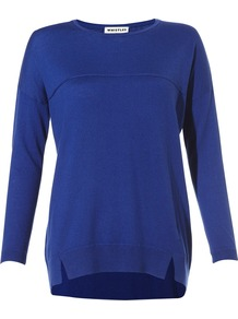 Claudine Drape Pocket Jumper - length: below the bottom; style: standard; predominant colour: royal blue; occasions: casual, work; fibres: wool - mix; fit: loose; neckline: crew; back detail: longer hem at back than at front; sleeve length: long sleeve; sleeve style: standard; texture group: knits/crochet; pattern type: knitted - fine stitch