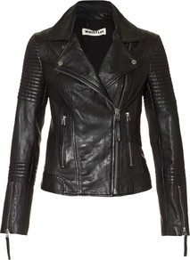 Dakota Leather Jacket - pattern: plain; style: biker; collar: asymmetric biker; fit: slim fit; predominant colour: black; occasions: casual, evening, work; length: standard; fibres: leather - 100%; waist detail: fitted waist; sleeve length: long sleeve; sleeve style: standard; texture group: leather; collar break: medium; pattern type: fabric; pattern size: standard