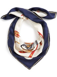 Clarence Womens Silk Scarf Navy - secondary colour: ivory; predominant colour: navy; occasions: casual, work; type of pattern: standard; style: square; size: standard; material: silk; pattern: patterned/print