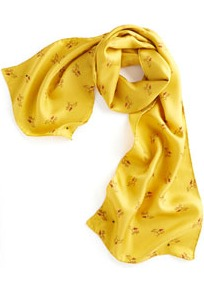 Cocoon Ladies Scarf Yellow - predominant colour: yellow; occasions: casual, work, holiday; type of pattern: small; style: regular; size: standard; material: silk; pattern: patterned/print