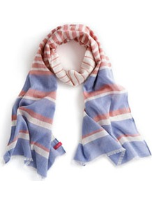 Evendon Womens Scarf Blue - predominant colour: pale blue; secondary colour: coral; occasions: casual, holiday; type of pattern: standard; style: regular; size: standard; material: fabric; pattern: horizontal stripes
