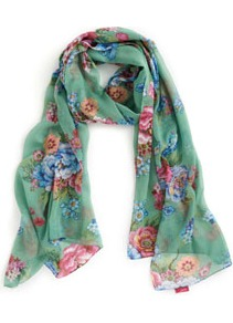 Wensley Womens Scarf Aplposy - secondary colour: pink; predominant colour: pistachio; occasions: casual, evening, work, occasion, holiday; type of pattern: large; style: regular; size: standard; material: fabric; pattern: florals; trends: high impact florals