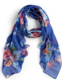Wensley Womens Scarf Bluposy - predominant colour: diva blue; secondary colour: coral; occasions: casual, evening, work, holiday; type of pattern: standard; style: regular; size: standard; material: fabric; pattern: florals