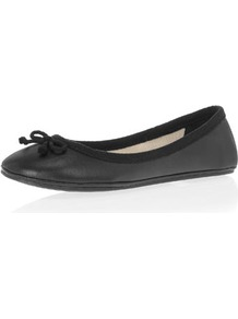 Black Spaghetti Bow Pumps - predominant colour: black; occasions: casual, evening, work; material: faux leather; heel height: flat; toe: round toe; style: ballerinas / pumps; finish: plain; pattern: plain