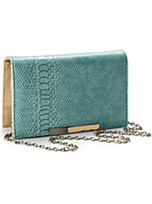 Croc Print Clutch Handbag - predominant colour: teal; occasions: evening; style: clutch; length: hand carry; size: small; material: faux leather; pattern: animal print; finish: plain