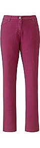 Tall Coloured Skinny Jeans - style: skinny leg; length: standard; pattern: plain; pocket detail: traditional 5 pocket; waist: mid/regular rise; predominant colour: hot pink; occasions: casual, evening, work; fibres: cotton - stretch; jeans detail: dark wash; texture group: denim; pattern type: fabric