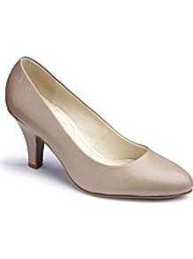 Court Shoes E Fit - predominant colour: champagne; occasions: evening, work, occasion; material: leather; heel height: mid; heel: kitten; toe: round toe; style: courts; finish: plain; pattern: plain