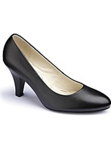Court Shoes Eee Fit - predominant colour: black; occasions: evening, work, occasion; material: leather; heel height: mid; heel: kitten; toe: round toe; style: courts; finish: plain; pattern: plain