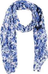 Star Print Scarf, White/Blue - secondary colour: white; predominant colour: royal blue; occasions: casual, holiday; type of pattern: heavy; style: regular; size: large; material: fabric; pattern: patterned/print