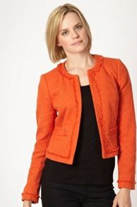 Orange Tweed Boxy Jacket - pattern: plain; collar: round collar/collarless; style: boxy; predominant colour: bright orange; occasions: casual, work; length: standard; fit: straight cut (boxy); fibres: cotton - mix; sleeve length: long sleeve; sleeve style: standard; texture group: cotton feel fabrics; collar break: high; pattern type: fabric