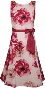 Peony Prom Dress - neckline: round neck; fit: fitted at waist; sleeve style: sleeveless; style: prom dress; waist detail: fitted waist, belted waist/tie at waist/drawstring; back detail: low cut/open back; predominant colour: true red; occasions: evening, occasion; length: just above the knee; fibres: cotton - mix; hip detail: structured pleats at hip, sculpting darts/pleats/seams at hip; sleeve length: sleeveless; texture group: crepes; trends: high impact florals; pattern type: fabric; pattern size: big & busy; pattern: florals, patterned/print