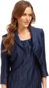 Midnight Crinkle Bolero - pattern: plain; style: bolero/shrug; collar: shawl/waterfall; length: cropped; predominant colour: navy; occasions: evening, occasion; fit: tailored/fitted; fibres: linen - mix; sleeve length: 3/4 length; sleeve style: standard; texture group: structured shiny - satin/tafetta/silk etc.; trends: glamorous day shifts; collar break: low/open; pattern type: fabric; pattern size: small &amp; light