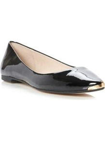 Black Synthetic Patent Mardi Metal Trim Pointed Toe Flat - predominant colour: black; occasions: casual, evening, work; material: faux leather; heel height: flat; toe: pointed toe; style: ballerinas / pumps; finish: patent; pattern: plain; embellishment: chain/metal, toe cap