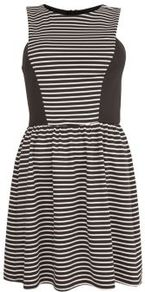 Black Stripe Panel Skater Dress - length: mid thigh; neckline: round neck; pattern: horizontal stripes, pinstripe; sleeve style: sleeveless; waist detail: fitted waist, twist front waist detail/nipped in at waist on one side/soft pleats/draping/ruching/gathering waist detail; predominant colour: black; occasions: evening; fit: fitted at waist & bust; style: fit & flare; fibres: polyester/polyamide - stretch; hip detail: soft pleats at hip/draping at hip/flared at hip; sleeve length: sleeveless; pattern type: fabric; pattern size: small & busy; texture group: jersey - stretchy/drapey