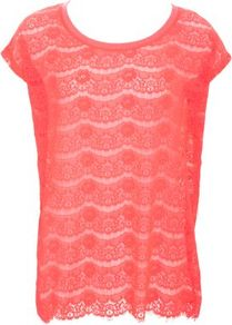 Pink Lace Oversize Top - neckline: round neck; sleeve style: capped; pattern: plain, patterned/print; style: t-shirt; predominant colour: coral; occasions: casual, evening; length: standard; fibres: polyester/polyamide - 100%; fit: body skimming; sleeve length: short sleeve; texture group: lace; trends: fluorescent; pattern type: fabric; pattern size: standard