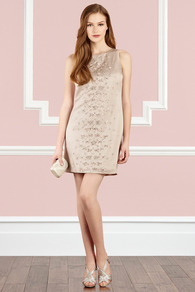 Chantilly Dress - style: shift; length: mid thigh; neckline: round neck; pattern: plain; sleeve style: sleeveless; bust detail: added detail/embellishment at bust; back detail: contrast pattern/fabric at back; predominant colour: champagne; occasions: evening, occasion; fit: body skimming; fibres: polyester/polyamide - 100%; hip detail: added detail/embellishment at hip; sleeve length: sleeveless; texture group: structured shiny - satin/tafetta/silk etc.; pattern type: fabric; pattern size: big &amp; light; embellishment: beading