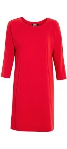 Dolman Front Pocket Dress - style: shift; length: mid thigh; neckline: round neck; pattern: plain; predominant colour: true red; occasions: evening, work; fit: body skimming; fibres: polyester/polyamide - mix; sleeve length: 3/4 length; sleeve style: standard; trends: glamorous day shifts; pattern type: fabric; pattern size: standard; texture group: other - light to midweight