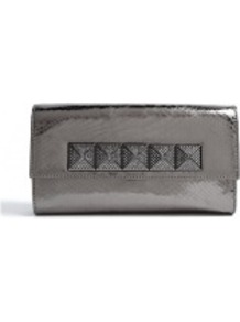 Laminated Python Antonia Clutch - predominant colour: charcoal; occasions: evening, occasion; type of pattern: light; style: clutch; length: hand carry; size: small; material: leather; embellishment: studs; pattern: animal print; trends: metallics; finish: metallic