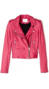 Ashville Leather Biker Jacket - pattern: plain; style: biker; shoulder detail: obvious epaulette; collar: asymmetric biker; length: cropped; fit: slim fit; predominant colour: hot pink; occasions: casual, evening, work; fibres: leather - 100%; sleeve length: long sleeve; sleeve style: standard; texture group: leather; collar break: high/illusion of break when open; pattern type: fabric; pattern size: standard