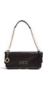 Gansevoort Mini Stud Foldover Clutch Bag - predominant colour: black; occasions: evening, occasion; type of pattern: standard; style: clutch; length: hand carry; size: small; material: leather; embellishment: studs, chain/metal; pattern: plain; finish: plain