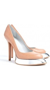 Almond Metallic Sweeper Sole Stiletto Pumps Camilla Skovg - predominant colour: nude; occasions: evening, work, occasion; material: leather; heel height: high; heel: platform; toe: pointed toe; style: courts; trends: metallics; finish: patent; pattern: plain, two-tone