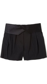 Tuxedo Pleat Front Short - pattern: plain; style: shorts; waist detail: fitted waist, wide waistband/cummerbund; waist: high rise; pocket detail: pockets at the sides; length: mid thigh shorts; predominant colour: black; occasions: evening, work; fibres: wool - stretch; hip detail: front pleats at hip level; texture group: crepes; fit: straight leg; pattern type: fabric