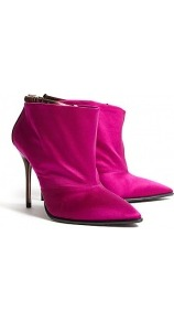 Sloane Raspberry Antique Satin Shoe Boots - predominant colour: hot pink; occasions: casual, evening, work, occasion; material: satin; heel height: high; embellishment: buckles; heel: stiletto; toe: pointed toe; boot length: ankle boot; style: standard; trends: fluorescent, metallics; finish: plain; pattern: plain, two-tone